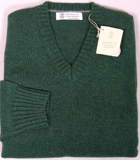 BRUNELLO CUCINELLI SWEATER GREEN 100%CASHMERE 4 PLY V NECK PULLOVER