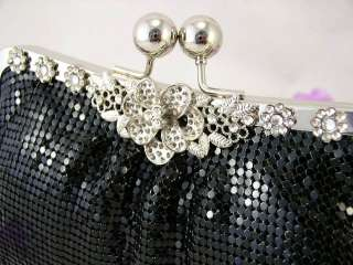 Metallic Evening Clutch Crystal Flower Jeweled 4 Colors