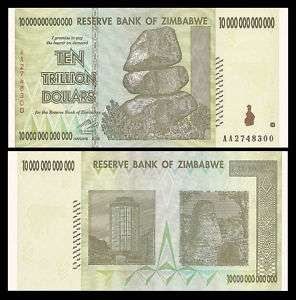 10 DOLLAR BILL PAPER MONEY ZIMBABWE TRILLION, US SELER