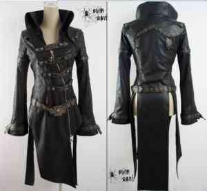 UNISEX Gothic Kuroshitsuji man made leather PUNK Blazer Long jacket