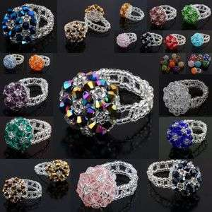 Crystal Glass Seed Bead Handwork Braided Mushroom Flower Finger Rings