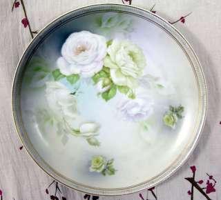 White Rose/Roses Vintage Porcelain Plate German/Germany Flowers Eagle