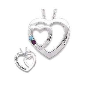 Sterling Silver Double Heart Engraved Pendant FAMILY JEWELRY Jewelry