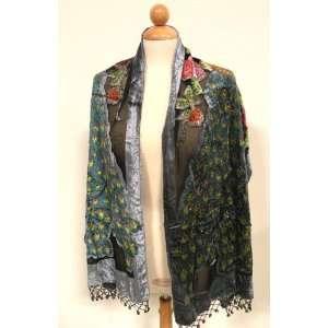 Peacock Fashion Scarf Shawl Black/Blue, Super Soft High Quality Silk