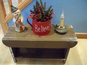 Primitive Shoe Bench Shabby Brown Pine**Country Decor**