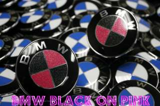 BMW Emblem Roundels GLITTER BLACK & PINK HOOD and TRUNK Pair 3 5 7 X M
