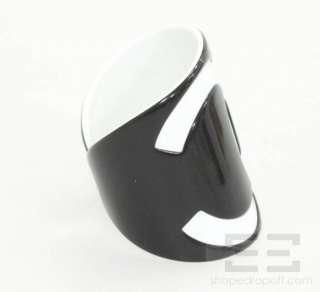 Chanel Black & White Logo Enamel Cuff Bracelet 04V