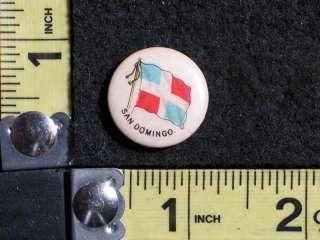 1896 San Domingo Flag Pinback Pin Sweet Caporal Cigarettes Tobacco Pin