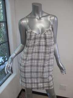 Standard James Perse White/Gray Plaid Spaghetti Strap Mini Dress 1