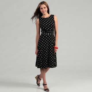 Jessica Howard Womens Black Polka Dot Ruched Waist Dress  Overstock