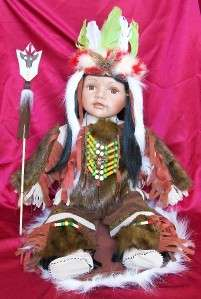 24 IN. PORCELAIN DOLL INDIAN Reproduction ISTAS |