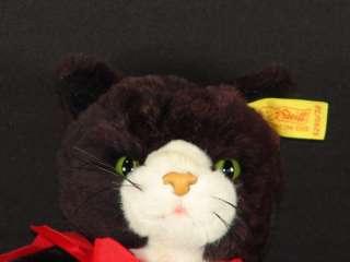 BLACK WHITE PAWS KITTY CAT SQUEAKER SOUND PLUSH STUFFED ANIMAL