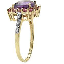 10k Yellow Gold Amethyst, Pink Tourmaline and Diamond Accent Ring