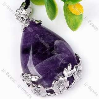 1P Amethyst Teardrop Stone Wrap Flower Bead Pendant