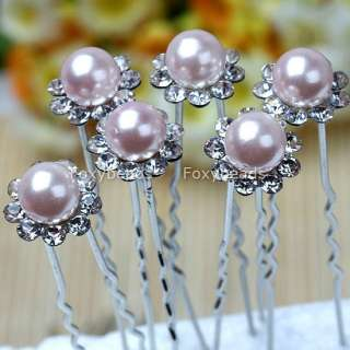 Faux Pearl Flower Blossom Bridal Wedding Hairpin Hair Pin Clips