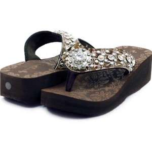 Western Womens Sandals Flip Flops with Rhinestone Sun Size 6 10