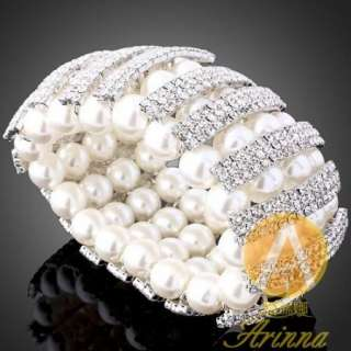 ARINNA Swarovski Crystal Pearl Stretch Wedding Bracelet