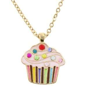 Cupcake Cuties Rhinestone Charm Necklace in Gift Box