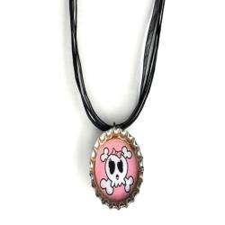 Bow Clippeez 2 Envy Light Pink Skull Bottle Cap Necklace
