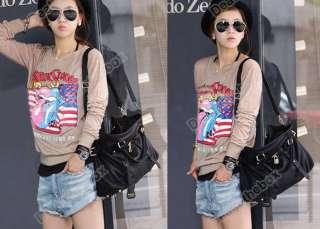 Black Korean Style Lady PU Leather Handbag Shoulder Bag