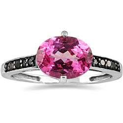10k Gold Pink Topaz and 1/8ct TDW Black Diamond Ring
