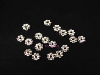 200pcs Finding Spacer Beads Silver Plated Daisy Flower