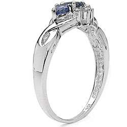 10k White Gold Blue Sapphire Diamond Ring