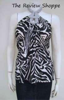 Dusak Designs Zebra Animal Print Halter Top Blouse Shirt Black White L