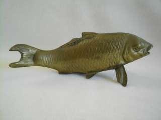 VTG Arts Crafts CAST BRASS Deco JAPANESE KOI FISH Sculpture FIGURE