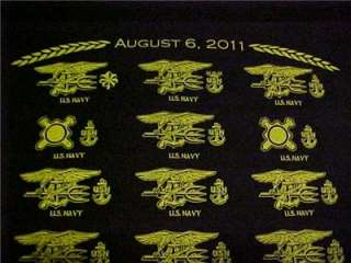 SEAL TEAM AMERICAN HEROES TRIBUTE SHIRT AUGUST 6, 2011 SZ.LARGE