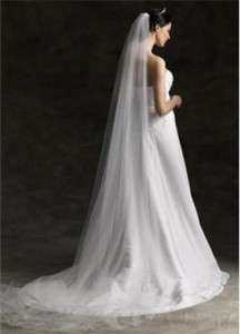 Single Layer 300cm Cathedral In White Wedding Bridal Veil With Combs