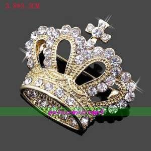 Jewellery Gold Plated Rhinestone crown brooch Pins A15