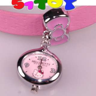 Hello Kitty pink leather diamante bow wrist Watch 2153*