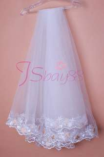 1T White Wedding Bridal Mantilla Embroidery Veil new