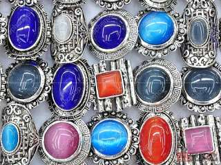 Wholesale mixed lots 20 cat eye Tibet silver rings new