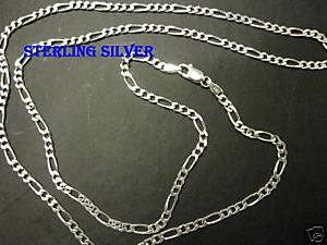 3mm Mens Sterling silver 24 Figaro link chain necklace