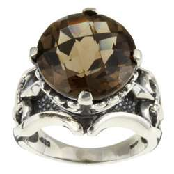 Meredith Leigh Sterling Silver Smokey Quartz Fleur de Lis Ring