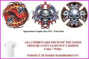 Biker Skulls NEW 3 Summer White T Shirt Set   M , L or XL