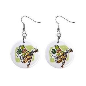 Irish Violin Fiddle Hat St Patricks Day Dangle Earrings