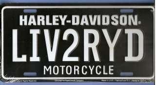 Harley Davidson LIV2RYD Metal License Plate
