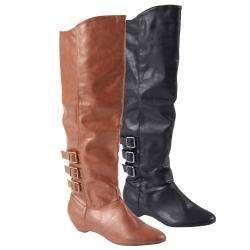 Madden Girl by Steve Madden Womens Zextor Tall Buckle Detail Boots