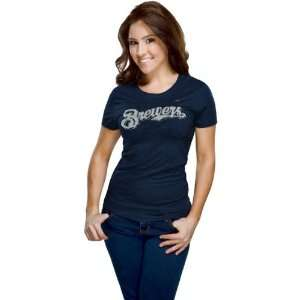 Milwaukee Brewers Womens Nike Navy Heather Blended T Shirt