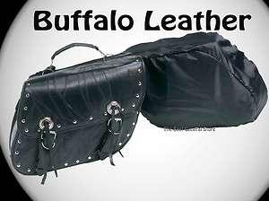 2pc Black Buffalo Leather Motorcycle Saddle Bag Set with Studs Luggage
