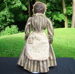 C1900 20 Primitive Oil Painted Face Black Cloth Doll Brown Striped