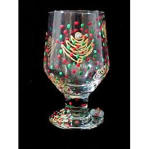Christmas Trees Design   Hand Painted   High Ball   Drinking Glass