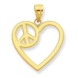 New 14k Yellow Gold Heart w/ Peace Sign Symbol Pendant