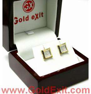 Gold Mens Hip Hop Kite Diamond Earring 0.16 CTS YELLOW GOLD NEW STUDS
