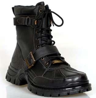 Mens Hiking Buckled Designer BOOTS Shoes Black Harness Engineer