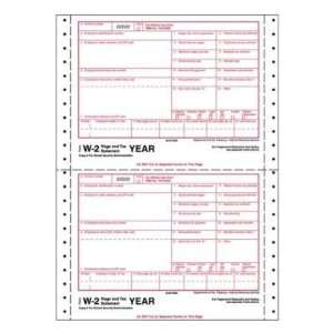 W 2 Tax Form, 4 Part, 8 1/2x5 1/2, 600/Pack, White