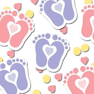 Tiny Toes Girls Pink Baby Shower Confetti Feet Confetti